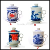 ceramic cup and saucer - Chinese White And Blue Ceramic Tilt Tea Cup And Saucer For Personal Use Porcelain Drinkware Cups And Mugs Choices