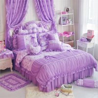 beautiful comforters sets - Luxury bedding set Good quality Silk Cotton duvet cover sets for girls princess bed beautiful gifts comforter sets