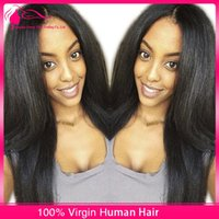Wholesale Italian Yaki Straight U Part Wigs Brazilian Virgin Human Hair Light Yaki U Part Wig Middle Parting For African Americans Density