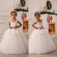 Wholesale 2016 Off Shoulder Flower Girl Dresses Ball Gown Lace Sash Tulle Princess Dresses Girl Party Dresses Girl Communion Pageant Dresses BO8551