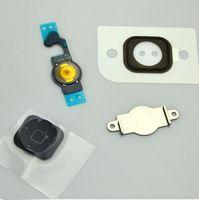 flex caps - 4pcs set For Apple iPhone S C black white gold Home Menu Button Key Cap Flex Cable Bracket Holder Rubber Gasket iphone5S