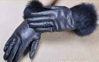 Wholesale 2014 Luxury Soft Nappa Leather Gift Gloves With Rabbit Fur Cuff Winter Warm Glove Women Fashion Cycling Gloves Multi Color