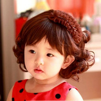 Wholesale Fashion Kids Childrens Girls Wig Hair Curly Wavy Photographic Cosplay Long Full Fake Hair Wigs Black Brown