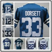 throwback football jersey - Top Fast American Football shirt Staubach Dorsett Bates Newhouse Sewn Jerseys White Blue Throwback Thanksgiving Jersey
