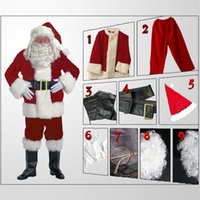 adult santa suit - Adult Style Santa Clothing Set Full Body Suit Winter Thicken Fancy Christmas Costumes Decorative Clothes cm