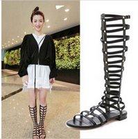 gladiator - 2015 women fashion sandals New Europe with strips zipper closure Knee open toe gladiator sandals Flat