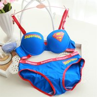 Wholesale Fashion Letter Printed Women Intimates Superman Women Bra Set Cotton Underwear Japanese Cute Push Up Bra and Panty Set Casual Lingerie