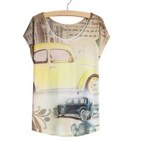 antique t shirts - New Arrival Vintage Style Women T Shirts Short Sleeve Antique Car Printed Graphic Tees Women Casual Tops Plus Size