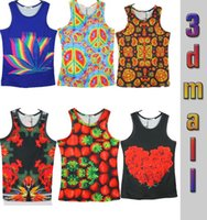 Cheap Candy Color Colorful 3d Print Strawberry Rose Floral Flower Petals Plants Women Men Tanks Tops Slim fitness Stylish tanks tees