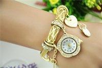chain metal dress - 2015 luxury women ladies bracelet watches gold silver metal alloy stainless plum blossom love diamond chain quartz dress watch for women