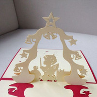 christmas cards - 3D Christmas Praying Angel Handmade Creative Kirigami Origami Pop UP Christmas Card set of