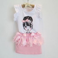 Wholesale children and kids sleeveless elegant pink bow baby girl girl clothing set suit clothes set shirt skirt set for height cm cm