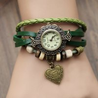 Wholesale New Vintage Quartz Women Dress Watches heart Pendant Synthetic Leather Bracelet Wrist Watch best sale