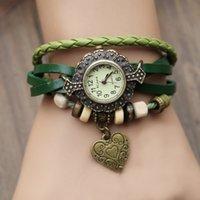 Wholesale New Vine Quartz Women Dress Watches heart Pendant Synthetic Leather Bracelet Wrist Watch retro watch best sale