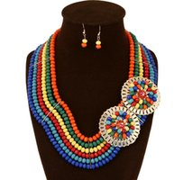 fashion beaded earrings - Fashion Wedding Crystal Necklace Earrings South Africa jewelry set doll bridal accessories