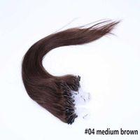 Cheap Hot Selling Remy Real Loop Hair 18-28 Inch Micro Ring Hair Extensions #04 Medium Brown 100g lot for Brazilian Hair Human Hair