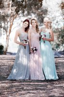 beach wedding dresses for guests - 2016 Cheap Sage Blue Purple Pink Bridesmaid Dresses Long Chiffon Bridesmaids Dress Summer Beach Junior Maid of Honor Gowns For Wedding Guest