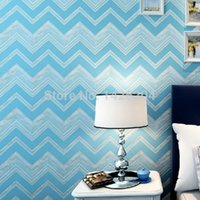 Cheap 3d PVC self-adhesive wall paper thickened modern minimalist blue striped ripple wallpaper for dormitory