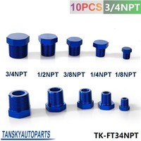 Wholesale Tansky Oil Water Fitting quot NPT Forged Carbon Aluminum Hex Head Plud Cap Threaded Blue TK FT34NPT