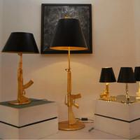 big desk lamp - Modern art Flos Guns AK47 Table Lamp Creative Starck Design Philippe Bedroom Desk Light Read Night Light AC V V Gold Chrome Big Medium