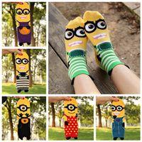 ladies knee socks - Despicable me Minion women sock cartoon In tube socks new Fashion lady cotton Three dimensional Hosiery colors HX