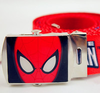 cotton belts - Hot Spider Man Printing Wide Kids Boys Girls Belts Child Accessories Cotton Cloth Adjustable Iron Hasp Fashion Waist Band L0982