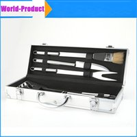 Wholesale BBQ Deluxe Durable Stainless Steel BBQ Grilling Tool Set with Aluminum Storage Case perfect for picnics