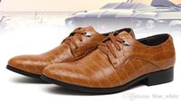 alligator shoes - Fashion Men s Dress shoes Imitation alligator Men Casual shoes Wedding Party Business Shoes Lace Up pointed toe shoes Black Brown