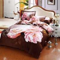 bedding thread count - 3d oil painting bedding queen size pink rose flower brown background Egyptian cotton thread count duvet comforter covers set