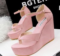 Cheap 2015 Newest womens summer high wedge sandal shoes hot designer suede stripe high platforms flip flops wedge heels sandal shoes for ladies