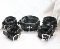bondage restraints - BDSM Bondage Collar Handcuffs for sex Wrist Cuffs Ankle Leg Cuffs Restraints with Lock Adult Sex Toys HM KIT3001