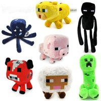 Wholesale Christmas Minecraft Stuffed toys green creeper pink baby pig red mooshroom black Enderman yellow cow blue squid white sheep plush doll