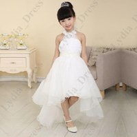 Cheap Sexy Beautiful White High Low Halter Flower Girls Dresses For Weddings Beaded Belt Girl Party Dress vestido de daminha 2016 Made in China