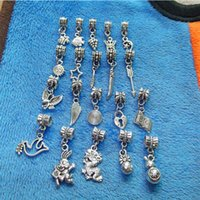Wholesale 20 Styles Fashion Retro Tibetan Silver Plant Animal Pendant Charms Big Hole Beads Fit European Bracelet Jewelry Accessories