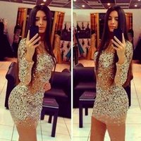 women sexy robe - Sexy Mini Mermaid See Through Back Women Prom Party Champagne Sequined Cocktail Dresses Short With Long Sleeves Robe De Cocktail