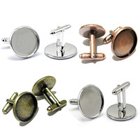 bezel cups - Beadsnice copper cufflink blanks jewelry making design cufflink parts with round mm bezel cup ID