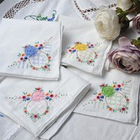 handkerchiefs ladies white embroidered - Handmade Women s Handkerchief Cotton Embroidered Handkerchief Randomly Large X29CM White