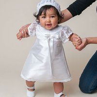 baby gown patterns - Knee length white lace pattern summer style baby dress baby girl christening gowns vestidos infantis