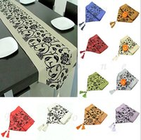 Wholesale New x Flocked Damask Table Cloth Runner Wedding Party Home Decor Freeshipping