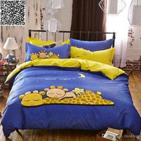 Wholesale good night printed kids bedding set twin full size Cotton Fabric Quilt cover bedsheet pillowcase pc blue color bed sets