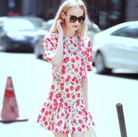 Cheap Free Shipping 2015 Summer European Dress Chiffon tee cute cherry Dress Chiffon Skirt Suit two pieces
