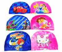 Wholesale Cartoon Swimming Caps Boys Girls Hats Dora Spiderman Cars KT Thomas for Children Kids Children Lycra Swim Bathing Digital Print