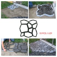 Wholesale 10 Pieces Garden Reusable Random Stone Mold for Walk Way Country Stone Pattern Concrete Mold Plastic Path Maker Mold Manually Paving mold