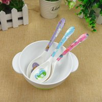 baby flatware - High Quality Cute Cartoon Printed New Safety Spoon Baby Flatware Feeding Spoon Safety Children Feeding Rice paste Milk Spoon