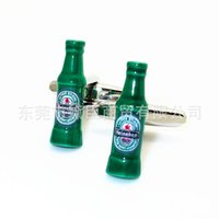 Wholesale Dongguan cufflinks Fun Spot mixed batch of green beer bottles ordered French cufflinks Cufflinks Sale CZ