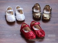 pure gold - New Spring Children Girls PU Leather Shoes Kids Lovely Tassels Korea Pure Color Magic Tape Princess Shoe Red Gold Silver Shoes H2884