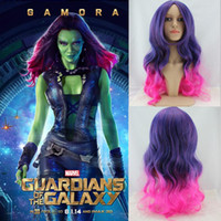 Wholesale New Movie Guardians of the Galaxy Gamora Wig Synthetic Long Wavy Gradient Purple Pink Ombre Anime Cosplay Wig
