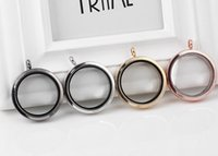 Cheap 10PCS lot 4Colors 35MM Big Plain Round Magnetic Glass Living Floating Charms Locket Pendant For Chain Necklace