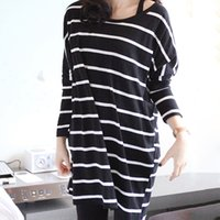 Wholesale Top Selling Stripe Cotton Maternity Tops T shirt For Pregnant Women Comfortable Pregnancy Shirt Loose Pregnant Clothes RD0043 Salebags