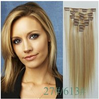 Cheap Clip in human hair extensions virgin Brazilian straight hair blonde mixed highlighted color #27 613, 90g-120g silky straight